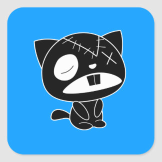 Cute Black Kitty Cat Zombie Square Sticker