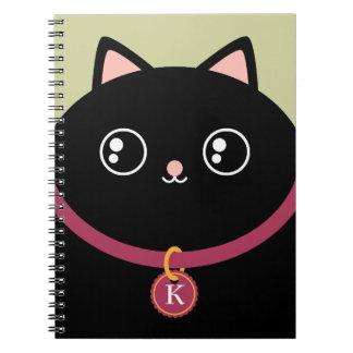 Cute Black Kitty Face Custom Name Monogram Notebook