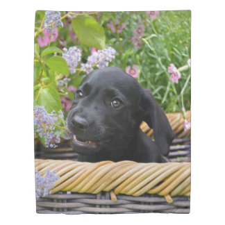 Cute Black Labrador Retriever Dog Puppy Pet Photo Duvet Cover