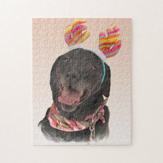 Cute Black Labrador Retriever Dog Puzzle