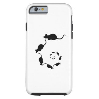 Cute Black Mouse Design. Spiral of Mice. Tough iPhone 6 Case