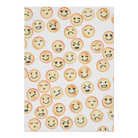 Cute black orange watercolor funny smiley faces poster