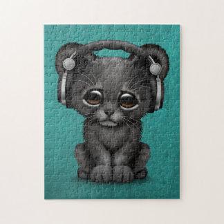 Cute Black Panther Cub Dj Wearing Headphones Blue Puzzles