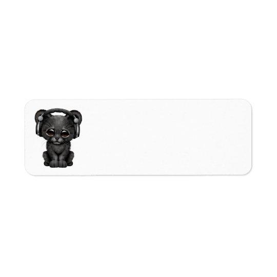 Cute Black Panther Cub Dj Wearing Headphones Return Address Label
