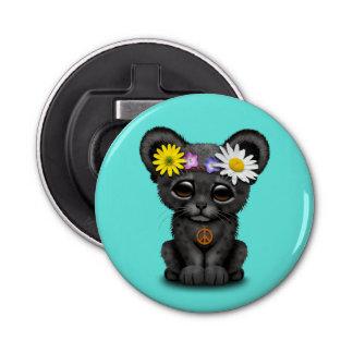 Cute Black Panther Cub Hippie Button Bottle Opener