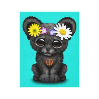 Cute Black Panther Cub Hippie Canvas Print