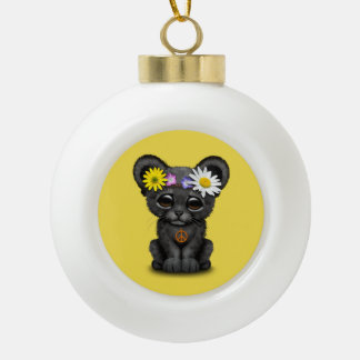 Cute Black Panther Cub Hippie Ceramic Ball Christmas Ornament