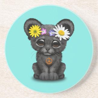 Cute Black Panther Cub Hippie Coaster