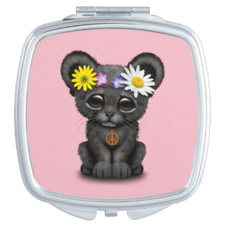Cute Black Panther Cub Hippie Compact Mirror