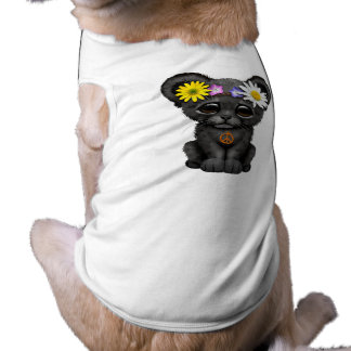 Cute Black Panther Cub Hippie Dog T-shirt