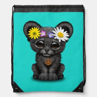 Cute Black Panther Cub Hippie Drawstring Bag