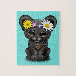 Cute Black Panther Cub Hippie Jigsaw Puzzle
