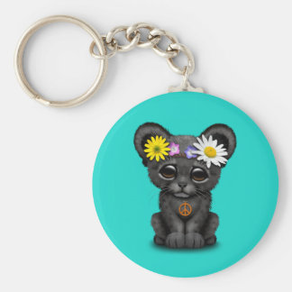 Cute Black Panther Cub Hippie Keychain