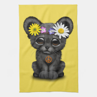 Cute Black Panther Cub Hippie Kitchen Towel