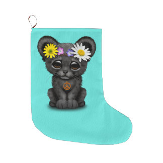 Cute Black Panther Cub Hippie Large Christmas Stocking