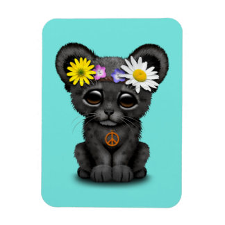 Cute Black Panther Cub Hippie Magnet