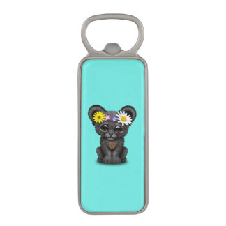 Cute Black Panther Cub Hippie Magnetic Bottle Opener