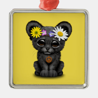 Cute Black Panther Cub Hippie Metal Ornament