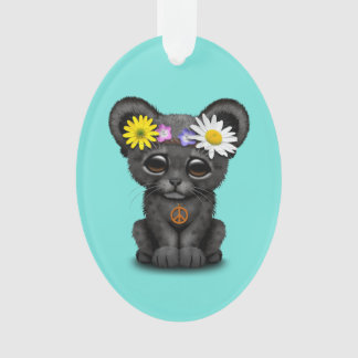 Cute Black Panther Cub Hippie Ornament