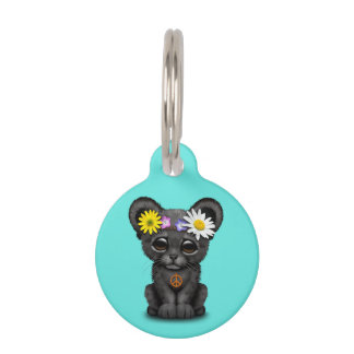 Cute Black Panther Cub Hippie Pet ID Tag