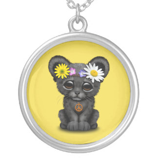 Cute Black Panther Cub Hippie Silver Plated Necklace