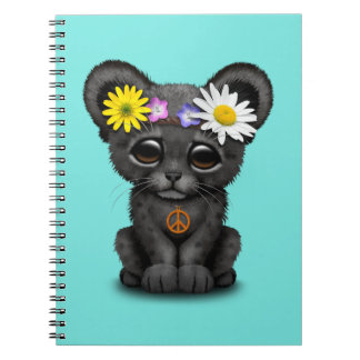 Cute Black Panther Cub Hippie Spiral Note Book