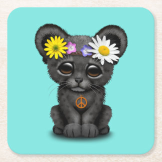 Cute Black Panther Cub Hippie Square Paper Coaster