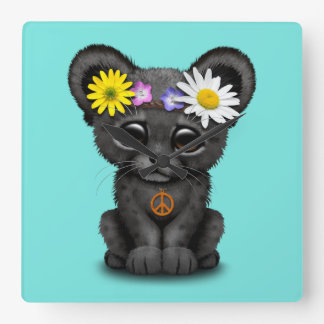 Cute Black Panther Cub Hippie Square Wall Clock