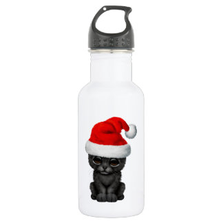 Cute Black Panther Cub Wearing a Santa Hat 532 Ml Water Bottle