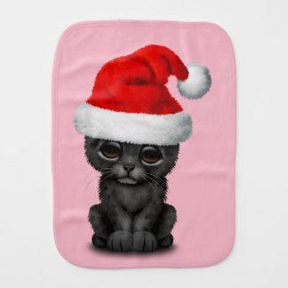 Cute Black Panther Cub Wearing a Santa Hat Burp Cloth