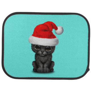 Cute Black Panther Cub Wearing a Santa Hat Car Mat