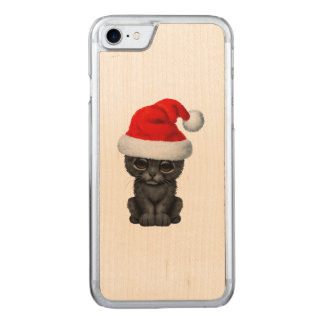 Cute Black Panther Cub Wearing a Santa Hat Carved iPhone 8/7 Case
