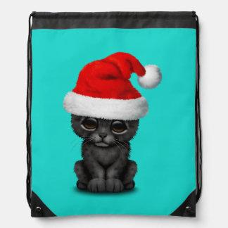 Cute Black Panther Cub Wearing a Santa Hat Drawstring Bag