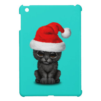 Cute Black Panther Cub Wearing a Santa Hat iPad Mini Cover