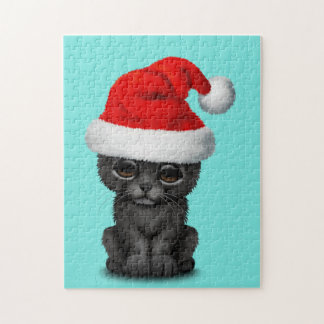 Cute Black Panther Cub Wearing a Santa Hat Jigsaw Puzzle