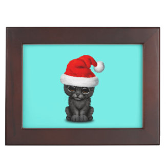 Cute Black Panther Cub Wearing a Santa Hat Keepsake Box