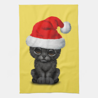 Cute Black Panther Cub Wearing a Santa Hat Kitchen Towel