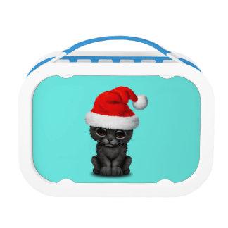 Cute Black Panther Cub Wearing a Santa Hat Lunch Box