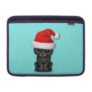 Cute Black Panther Cub Wearing a Santa Hat MacBook Sleeve