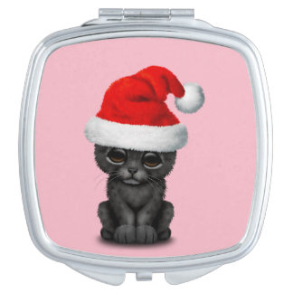 Cute Black Panther Cub Wearing a Santa Hat Makeup Mirror