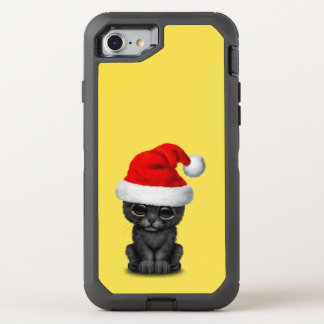 Cute Black Panther Cub Wearing a Santa Hat OtterBox Defender iPhone 8/7 Case