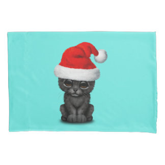 Cute Black Panther Cub Wearing a Santa Hat Pillowcase