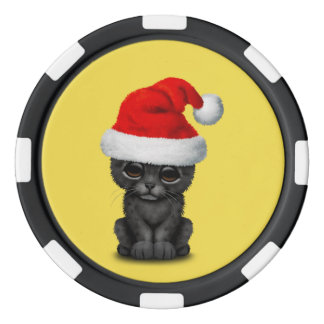 Cute Black Panther Cub Wearing a Santa Hat Poker Chips
