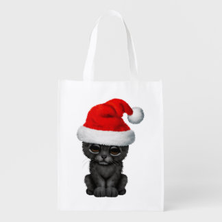 Cute Black Panther Cub Wearing a Santa Hat Reusable Grocery Bag