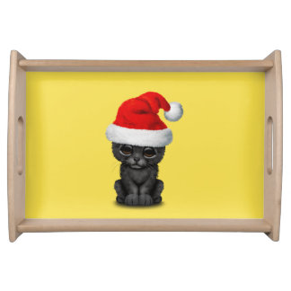 Cute Black Panther Cub Wearing a Santa Hat Serving Tray