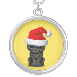 Cute Black Panther Cub Wearing a Santa Hat Silver Plated Necklace