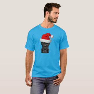 Cute Black Panther Cub Wearing a Santa Hat T-Shirt