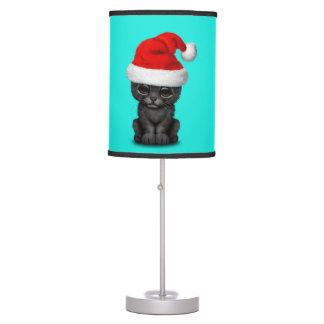 Cute Black Panther Cub Wearing a Santa Hat Table Lamp