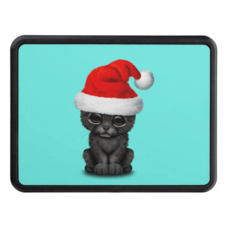 Cute Black Panther Cub Wearing a Santa Hat Trailer Hitch Cover