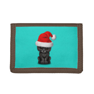 Cute Black Panther Cub Wearing a Santa Hat Tri-fold Wallet